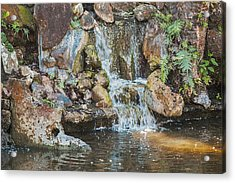 Acrylic Print featuring the photograph Gentle Waterfall With Sunbeam by David Coblitz