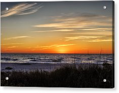 Gentle Wave Sunset Acrylic Print by Frank J Benz