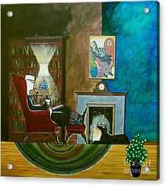 Gentleman Sitting In Wingback Chair Enjoying A Brandy Acrylic Print