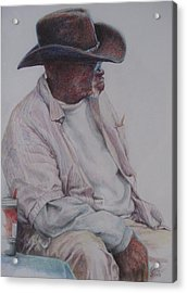Gentleman Wearing The Dark Hat Acrylic Print by Sharon Sorrels