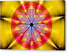 Geo-cosmic Sri Yantra Acrylic Print by Derek Gedney