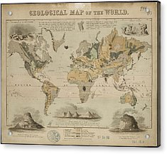 Geological Map Of The World Acrylic Print by British Library