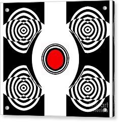 Geometric Abstract Black White Red Art No.400 Acrylic Print by Drinka Mercep