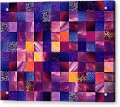 Geometric Abstract Design Purple Meadow Acrylic Print by Irina Sztukowski