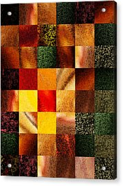 Geometric Design Squares Pattern Abstract II Acrylic Print by Irina Sztukowski