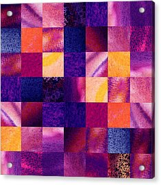Geometric Design Squares Pattern Abstract Iv Acrylic Print by Irina Sztukowski