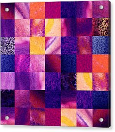 Geometric Design Squares Pattern Abstract V  Acrylic Print by Irina Sztukowski