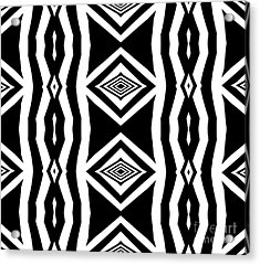 Geometric Pattern Abstract Black White Art No.339. Acrylic Print by Drinka Mercep