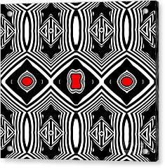Pattern Black White Red Op Art No.389. Acrylic Print by Drinka Mercep