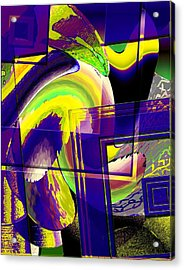 Geometrical Art With Yellow And Lilac Acrylic Print by Mario Perez