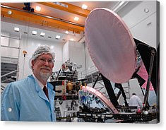 George F. Smoot With Planck Obs. Mirrors Acrylic Print by Science Source
