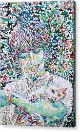 George Harrison With Cat Acrylic Print by Fabrizio Cassetta