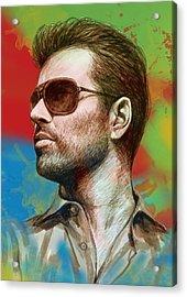 George Michael Stylised Pop Morden Art Drawing Sketch Portrait Acrylic Print by Kim Wang