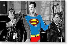 George Reeves As Superman In His 1950's Tv Show Apprehending Two Bad Guys 1953-2010 Acrylic Print