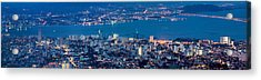 George Town Penang Malaysia Aerial View At Blue Hour Acrylic Print