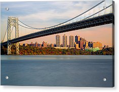 George Washington Bridge In Autumn Acrylic Print