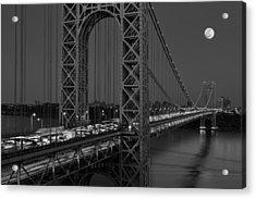 George Washington Bridge Moon Rise Bw Acrylic Print