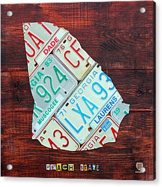 Georgia The Peach State License Plate Map On Fruitwood Acrylic Print