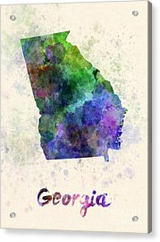 Georgia Us State In Watercolor Acrylic Print by Pablo Romero