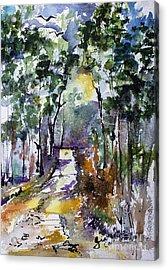 Georgia Winter Pines Watercolor Acrylic Print