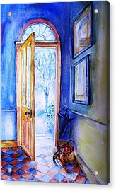 Acrylic Print featuring the painting Winter Doorway Ireland    by Trudi Doyle