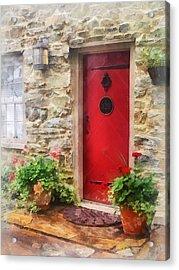 Geraniums By Red Door Acrylic Print by Susan Savad