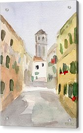 Geraniums Cannaregio Watercolor Painting Of Venice Italy Acrylic Print by Beverly Brown