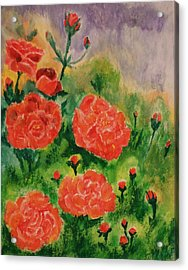 Acrylic Print featuring the painting Geraniums by Christy Saunders Church