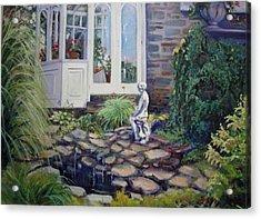 Geraniums In The Window Acrylic Print by Bonita Waitl