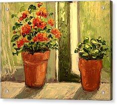 Geraniums In The Window Paint Along With Nancy Pbs Acrylic Print by    Michaelalonzo   Kominsky