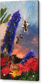 Geraniums Red And Delphiniums Blue Acrylic Print