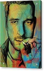 Gerard Butler - Stylised Pop Art Drawing Sketch Poster Acrylic Print by Kim Wang