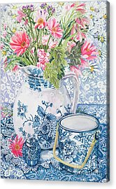 Gerberas In A Coalport Jug With Blue Pots Acrylic Print by Joan Thewsey