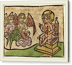 German 15th Century, Christ Child With Three Angels Acrylic Print