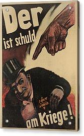 German Anti-semitic Poster. Der Ist Acrylic Print by Everett