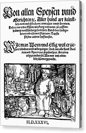 Germany Cookbook, 1536 Acrylic Print by Granger