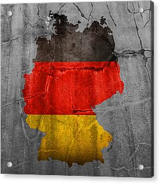 Germany Flag Country Outline Painted On Old Cracked Cement Acrylic Print