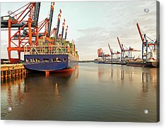 Germany, Hamburg, View Of Container Acrylic Print