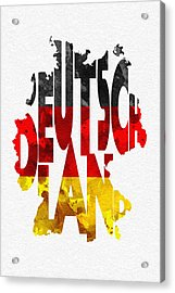 Germany Typographic Map Flag Acrylic Print by Ayse Deniz