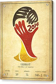 Germany World Cup Champion Acrylic Print by Aged Pixel