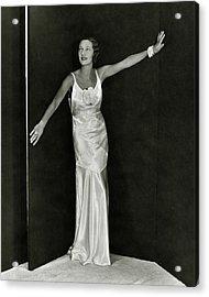 Gertrude Lawrence In A Molyneux Dress Acrylic Print by George Hoyningen-Huene