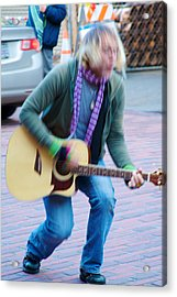 Acrylic Print featuring the photograph Gettin Down - Street Musician In Seattle by Jane Eleanor Nicholas