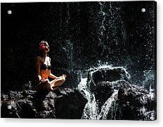 Getting In Touch With Whole Universe. Anna At Eureka Waterfalls. Mauritius Acrylic Print by Jenny Rainbow