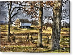 Acrylic Print featuring the photograph Gettysburg At Rest - Winter Edward Mc Pherson Farm by Michael Mazaika