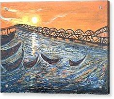 Godavari River And Bridge Acrylic Print