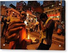Ghat Priest Acrylic Print by Money Sharma