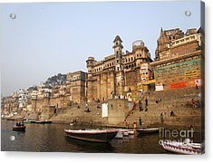 Ghats And Boats On The River Ganges At Varanasi In India Acrylic Print by Robert Preston