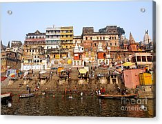 Ghats In The River Ganges At Varanasi In India Acrylic Print by Robert Preston