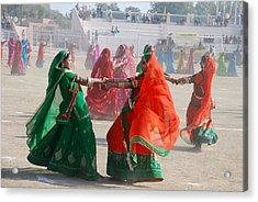 Ghoomar Dance In Rajasthan Acrylic Print by Rakesh Sharma