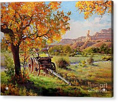 Ghost Ranch Old Wagon Acrylic Print by Gary Kim